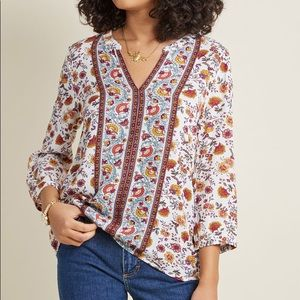Flawlessly Folkloric 3/4 Sleeve Top in Floral